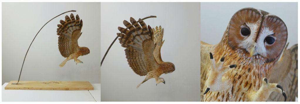 la chouette hulotte , the tawny owl, sculpture, éric