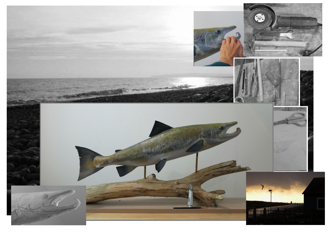 sculpture, le saumon atlantique, the atlantic salmon