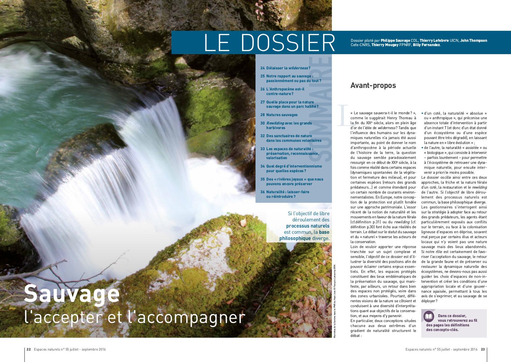 Sauvage, l'accepter et l'accompagner, Espaces Naturels n°55, juillet -septembre 2016