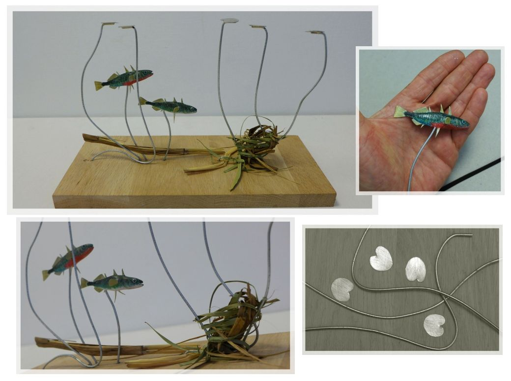 les épinoches, the three spined sticklebacks, sculpture