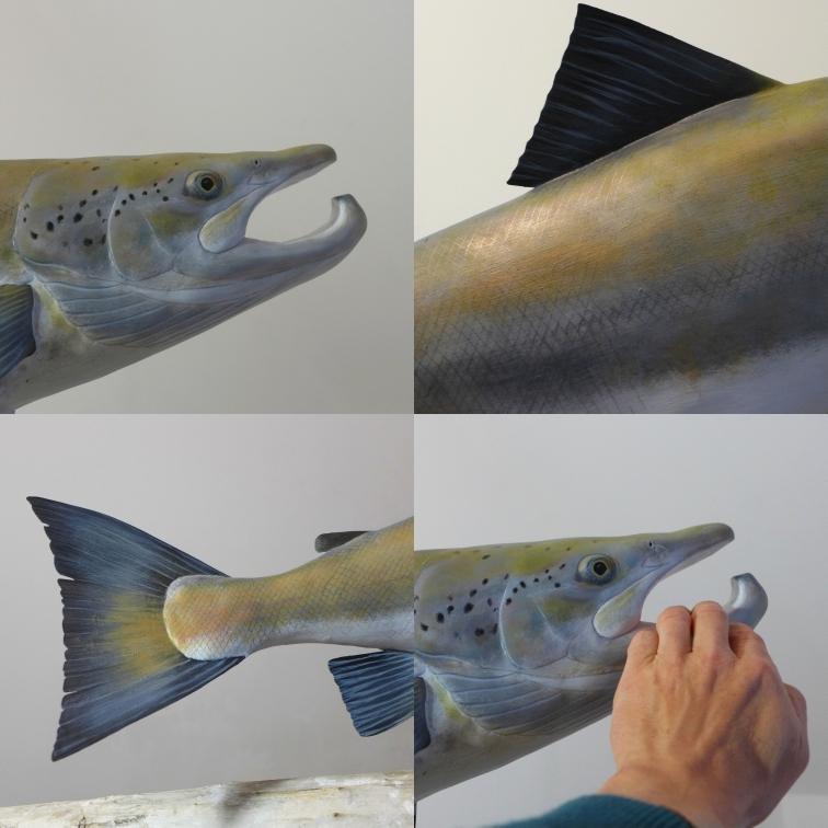 le saumon atlantique, the atlantic salmon, 1,20 m, sculpture