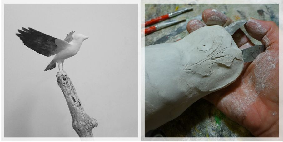 goldfinch and long-heared owl, sculpture, work in hand, éric