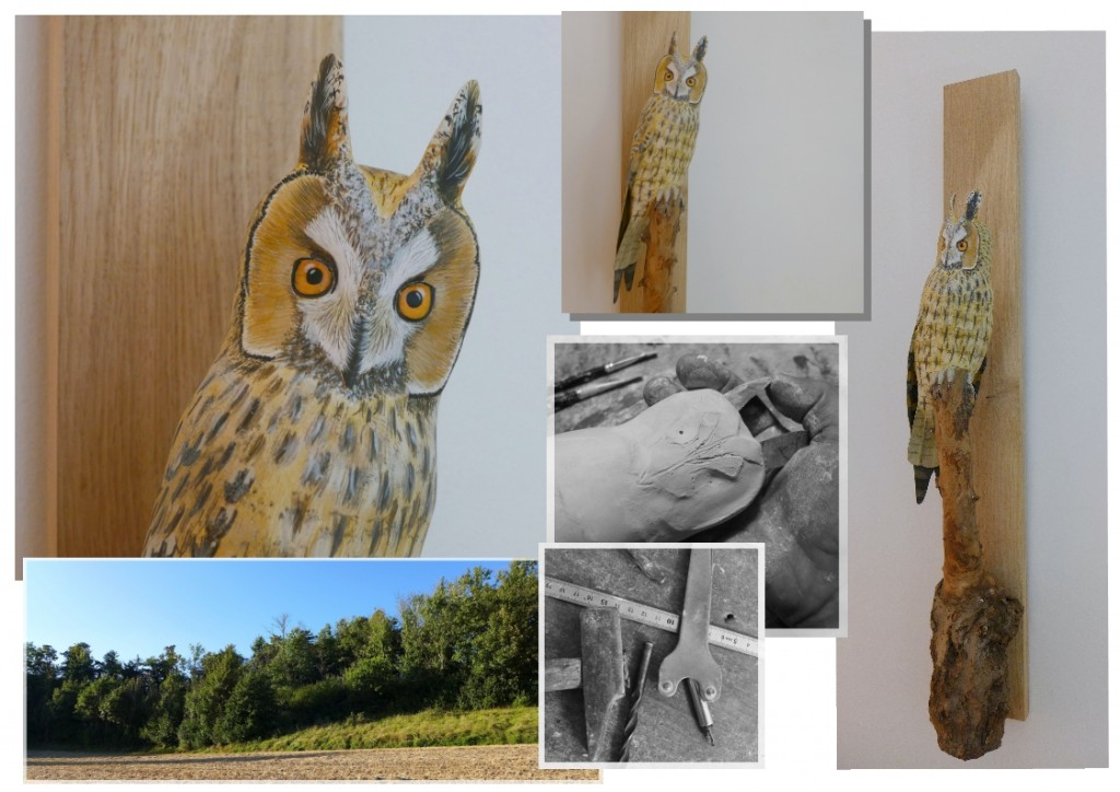 eric billion sculpture hibou moyen duc long eared owl