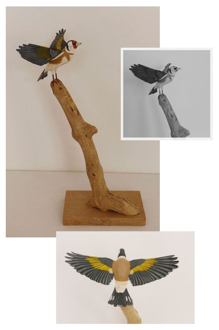 un chardonneret elegant a goldfinch sculpture
