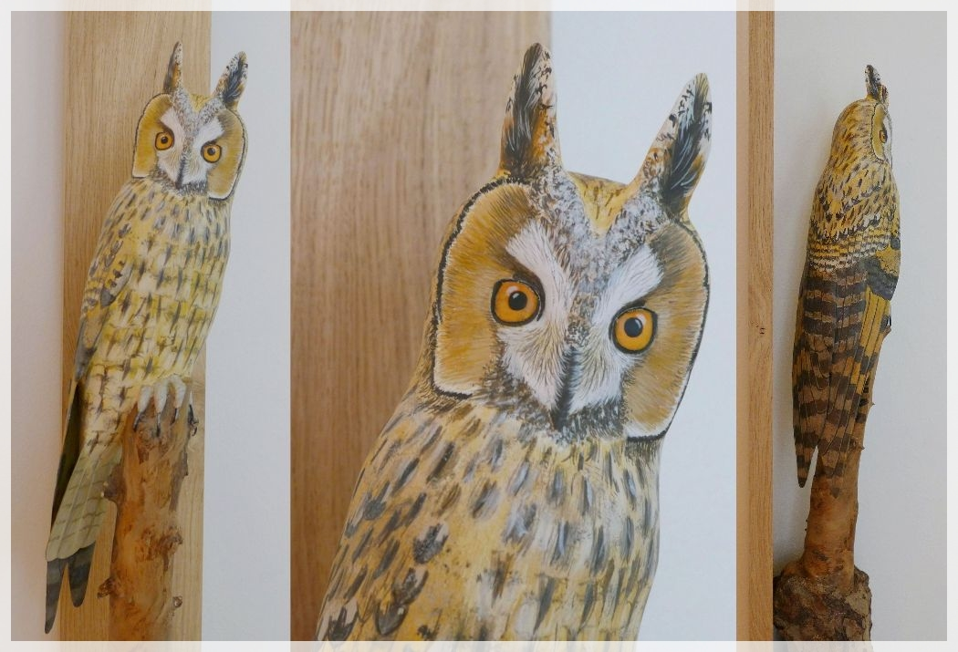 un hibou moyen-duc, a long eared-owl, sculpture