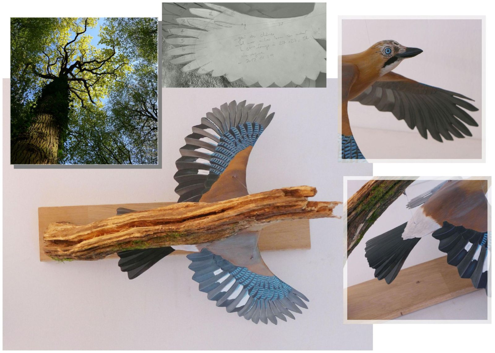 sculpture geai des chênes eurasian jay