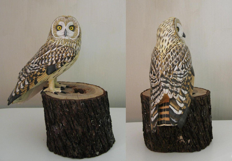 hibou des marais, short eared owl, sculpture