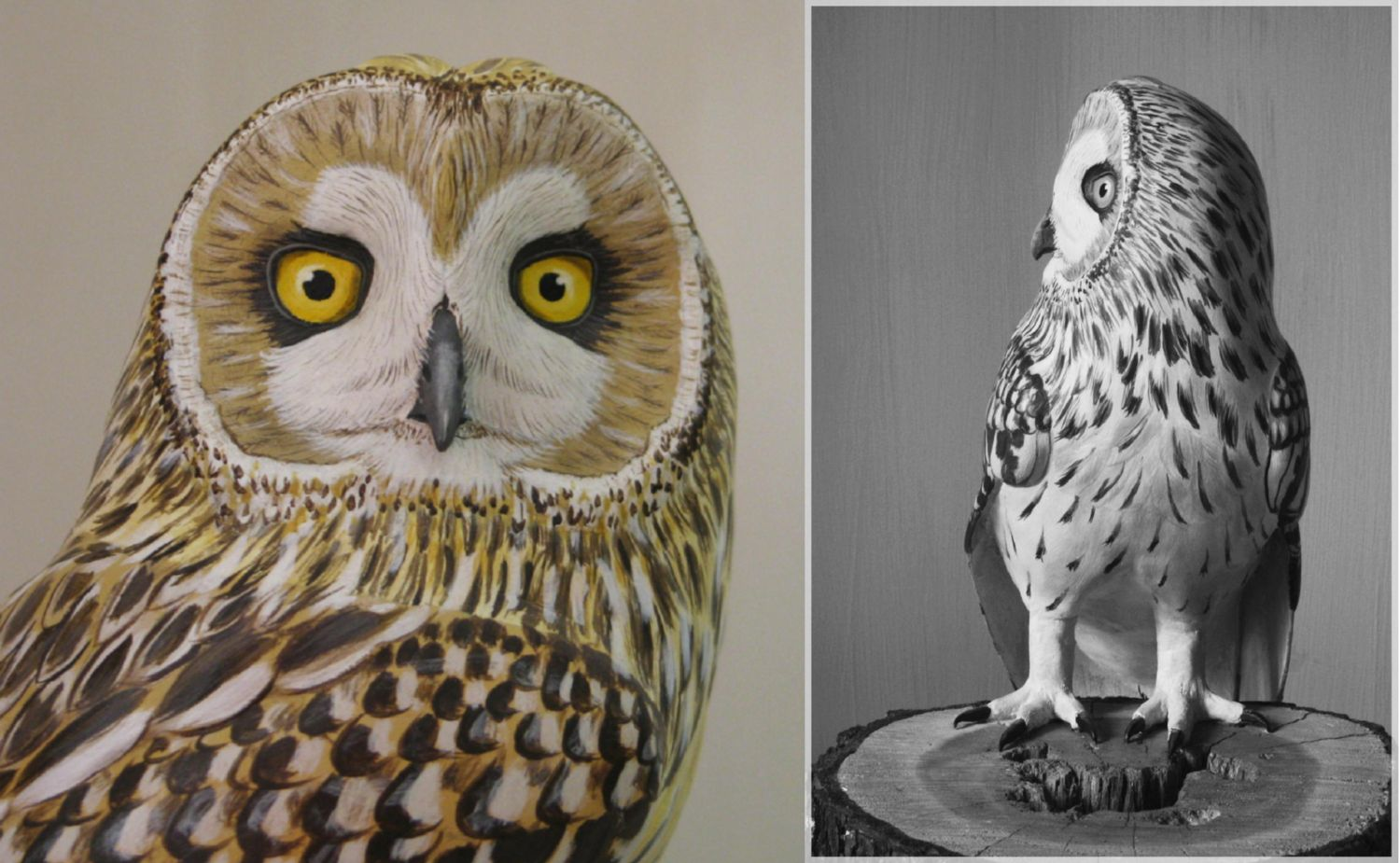 sculpture, un hibou des marais, a short eared owl