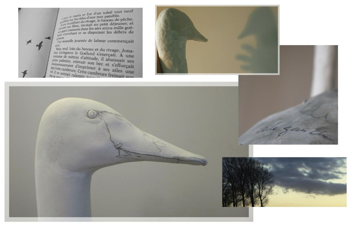 sculpture, le cygne chanteur, the whooper swan