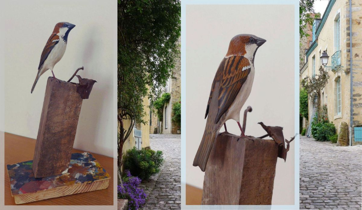 eric billion sculpture moineau domestique house sparrow
