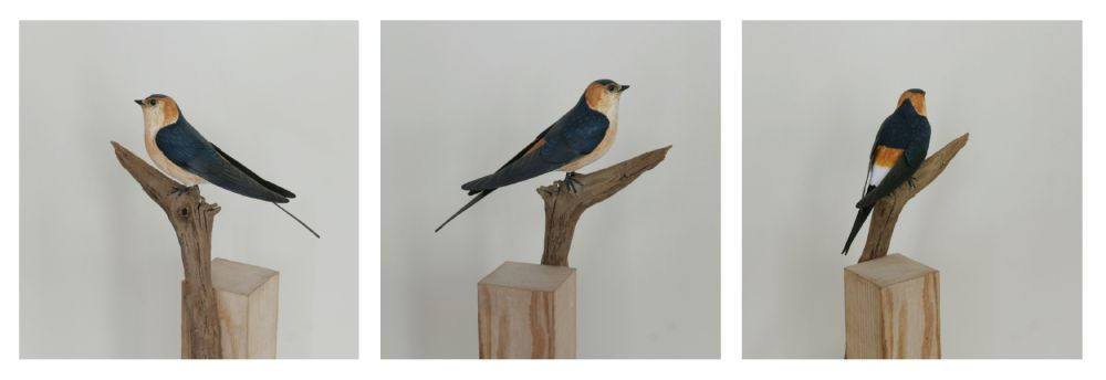eric billion sculpture hirondelle rousseline rep rumped swallow
