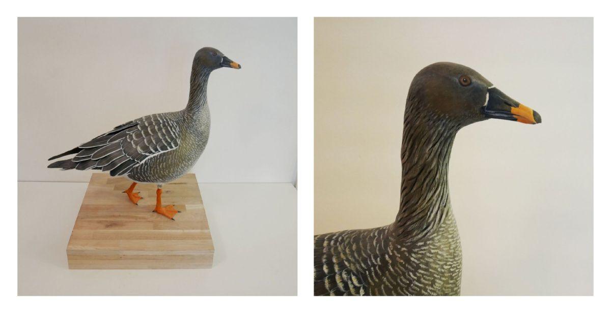 une oie des moissons, a bean goose, sculpture
