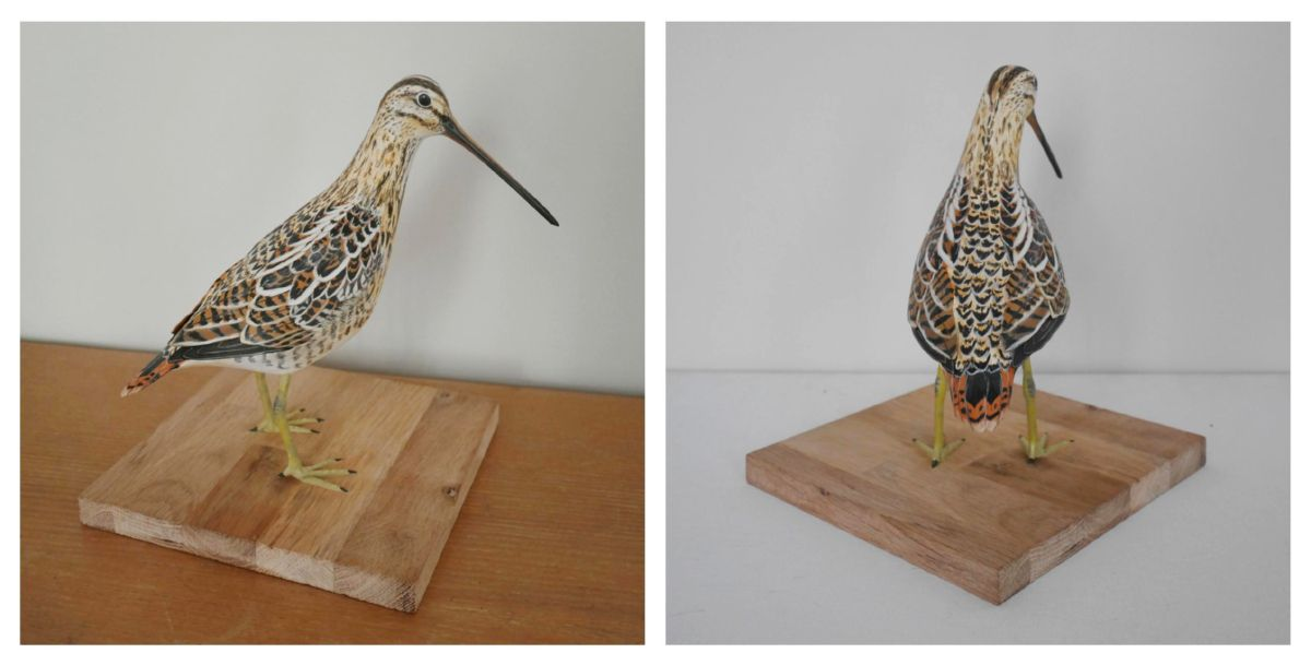 la bécassine des marais, the common snipe, sculpture