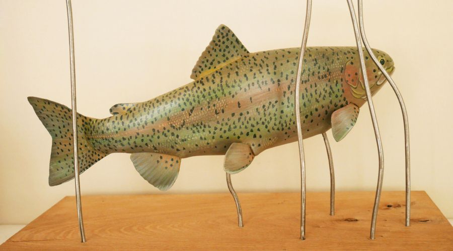 la truite arc-en-ciel, the rainbow trout, sculpture