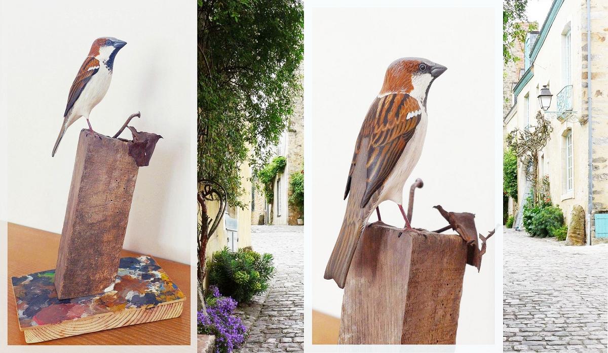 The house Sparrow | le Moineau domestique, sculpture