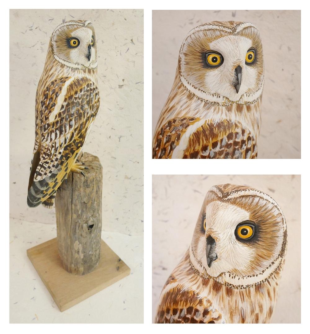 the short-eared owl | le hibou des marais, sculpture