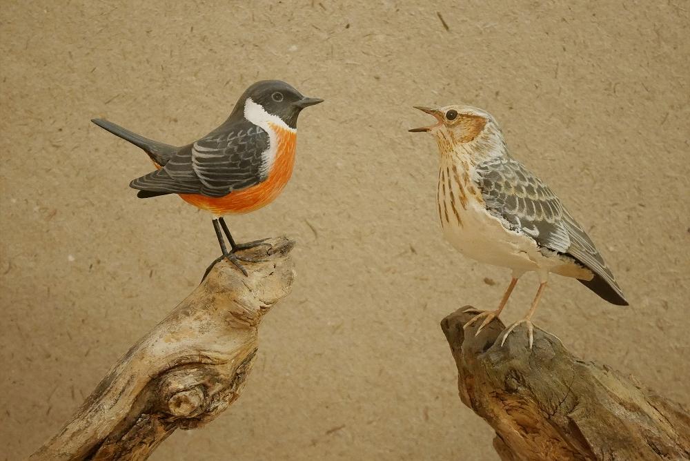 the stonechat & the woodlark | le tarier pâtre et l'alouette lulu, 13 & 15 cm